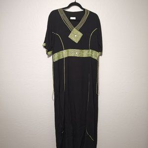 Moroccan Embroidered Maxi Dress One Size